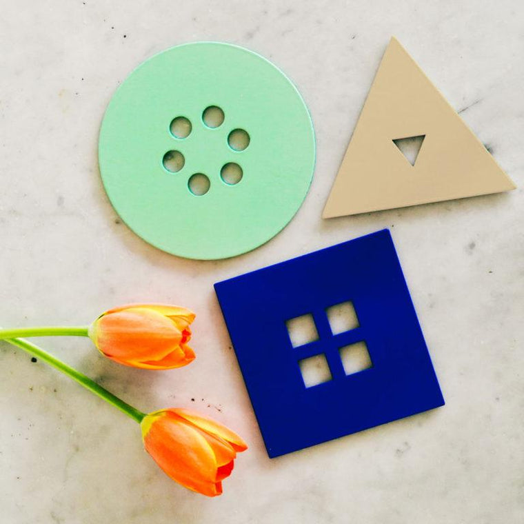Anywhere Vases in Mint/Cobalt/Tan