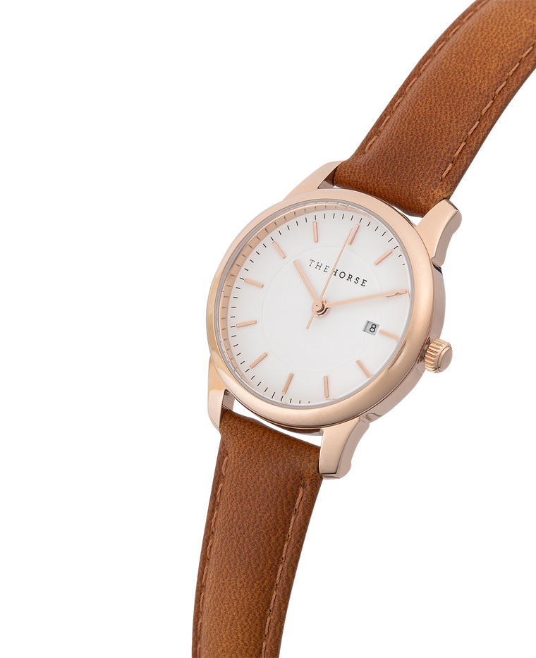 IG1 The Horse Ivy Girl Ladies Watch with Date Polished Rose Gold Case / White Dial / Tan Leather