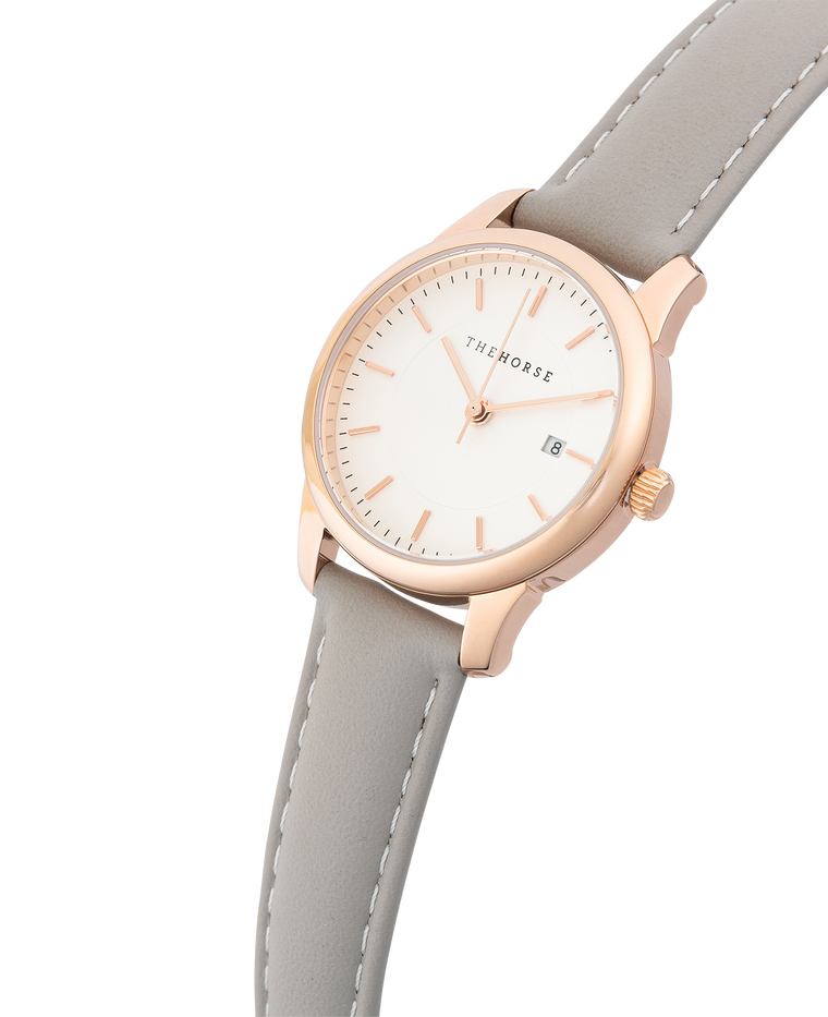 IG2 The Horse Ivy Girl Ladies Watch with Date Polished Rose Gold Case / White Dial / Light Grey Leather