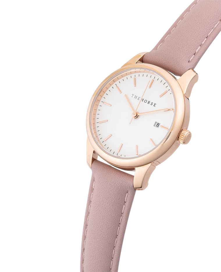 IG4 The Horse Ivy Girl Ladies Watch with Date Polished Rose Gold Case / White Dial / Blush Leather