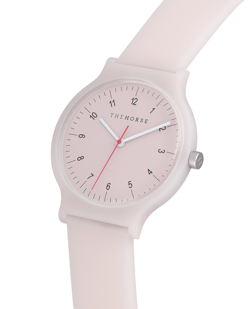 SA10 The Horse Block Out Unisex Watch in Baby Pink. Compendium Design Store, Fremantle. AfterPay, ZipPay accepted.