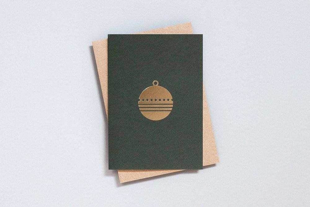 Foil Blocked Christmas Card, Bauble Green/Brass. Compendium Design Store, Fremantle. AfterPay, ZipPay accepted.