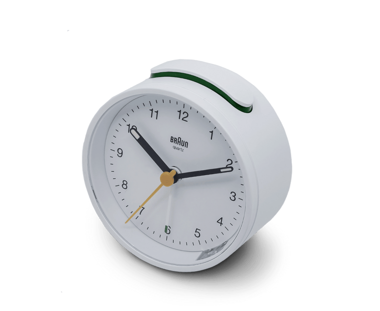 Braun Classic Analogue Quiet Alarm Clock in White
