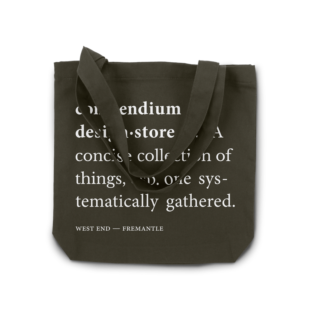 Compendium Design Store  Definition Tote Bag in Army Green. Compendium Design Store, Fremantle. AfterPay, ZipPay accepted.