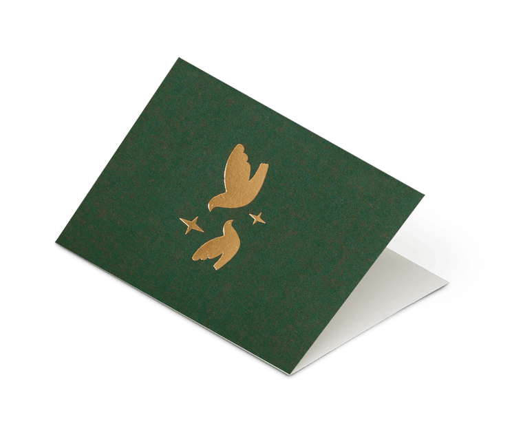 Foil Blocked Christmas Card, Two Doves Green/Brass