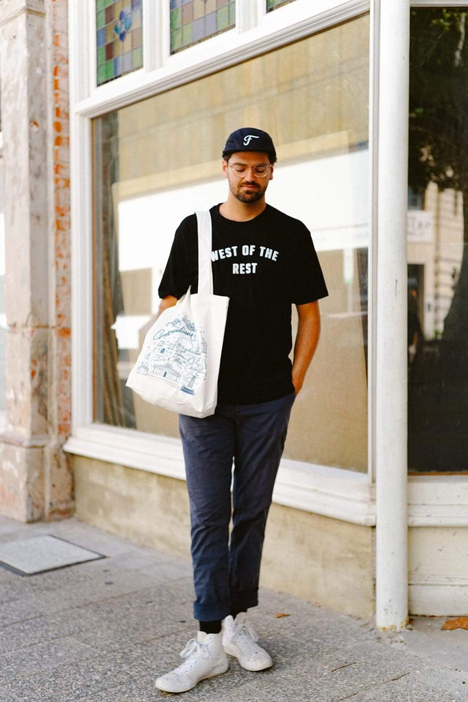 Freo Goods Co 'West Of The Rest' Organic T-Shirt · Mens. Compendium Design Store, Fremantle. AfterPay, ZipPay accepted.
