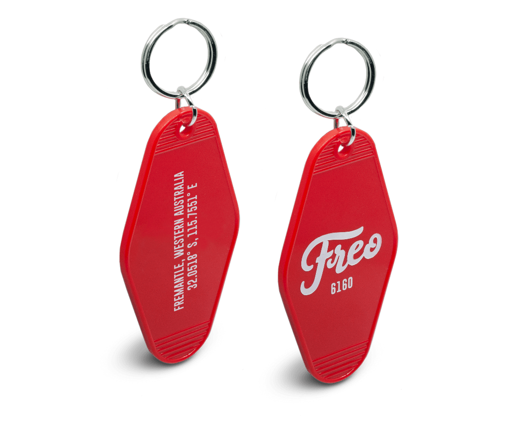 Freo Goods Co 6160  Key Fob in Red. Compendium Design Store, Fremantle. AfterPay, ZipPay accepted.