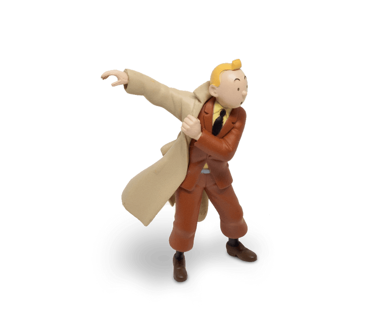 Tintin Puts On His Trench (Large) PVC Figurine 8.5cm
