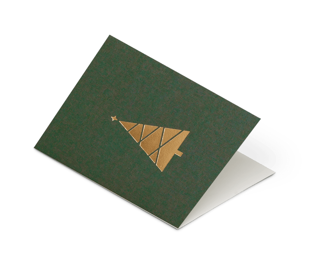 Foil Blocked Christmas Card, Tree Green/Brass. Compendium Design Store, Fremantle. AfterPay, ZipPay accepted.