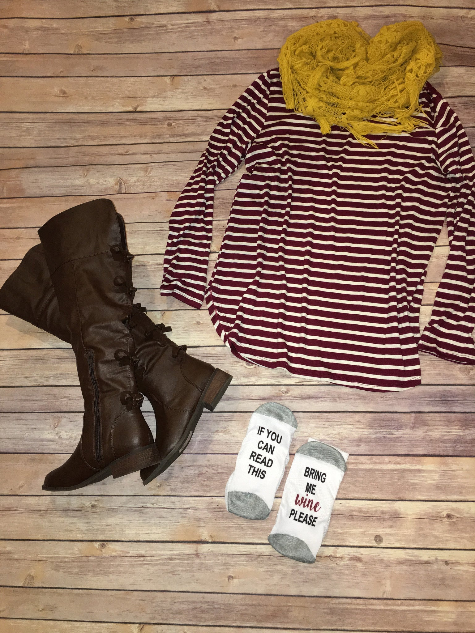 Burgundy Stripe long sleeve tunic