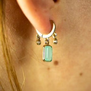 "Boucles d'oreilles ""Terry"" Pierre Rectangle Facettée et Strass"
