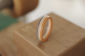 Bague skateboard recyclé 7PLIS orange bleue