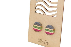 Recycled SKATEBOARD earring, 7PLIS green pink blue wood, real 925 silver round