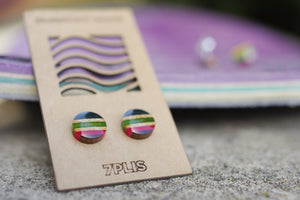 Recycled resin SKATEBOARD earring, 7PLIS pink blue wood, real 925 silver round