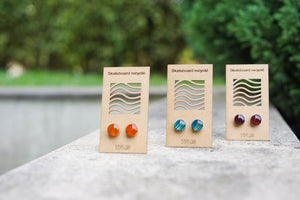 Recycled SKATEBOARD earrings 7PLIS  wood round orange purple or blue