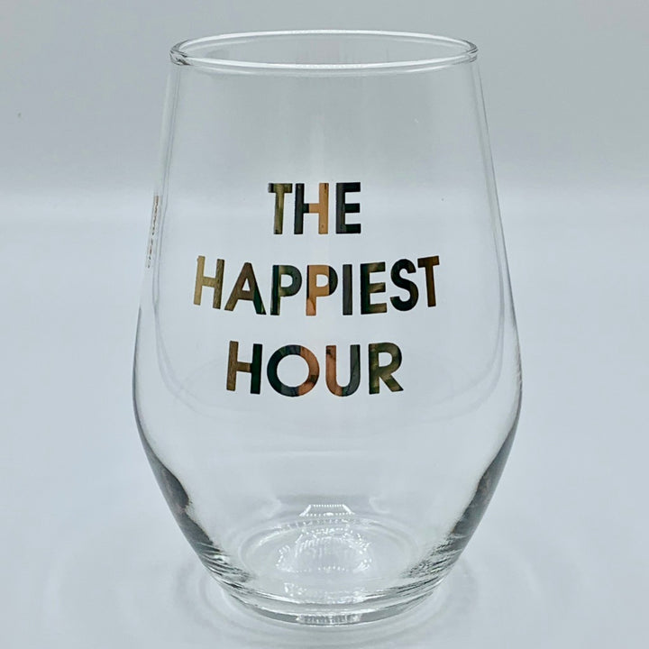 Gold Foil Stemless Wine Glass - The Happiest Hour
