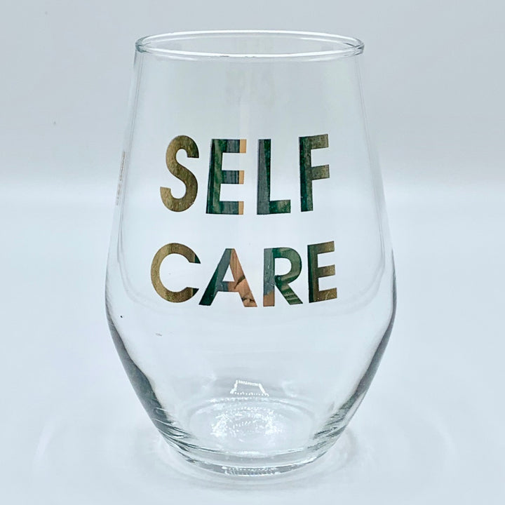 Gold Foil Stemless Wine Glass - Self Care