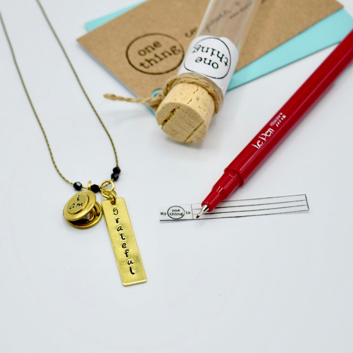 I Am Grateful Locket Necklace