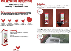 RentACoop PVC Chicken Poultry Feeder with Rain Cover 10 Pounds