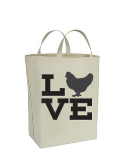 Chicken Themed Canvas Tote Bags - LOVE