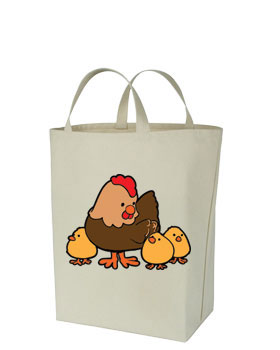 Chicken Themed Canvas Tote Bags - HENS AND CHICKS