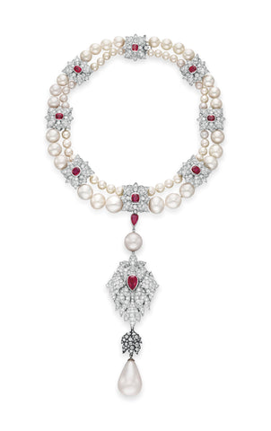La Peregrina set with natural pearls, diamonds, and rubies by Cartier