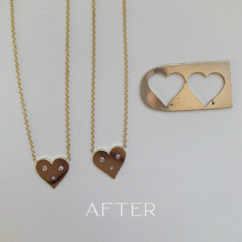 His and hers wedding bands into new heart necklaces redesign with diamonds
