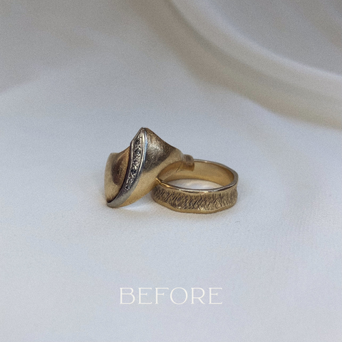 His and hers wedding bands into necklaces before