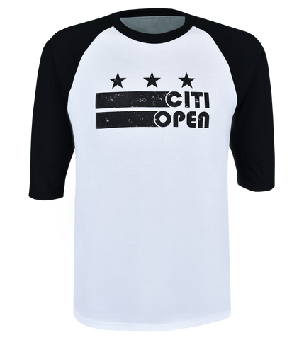 Youth Core Logo Stars & Stripes 3/4 Sleeve Raglan - Black & White