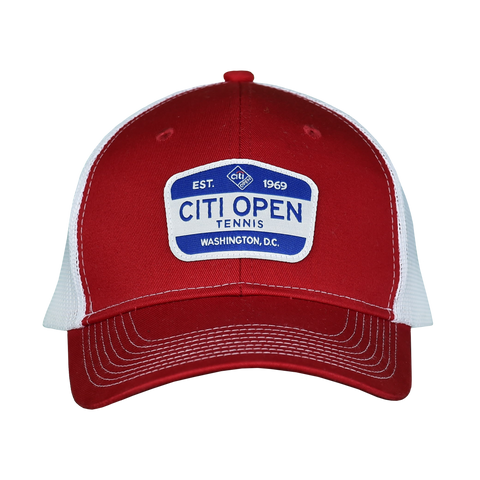 Citi Open Retro Patch Trucker Hat - Red & White