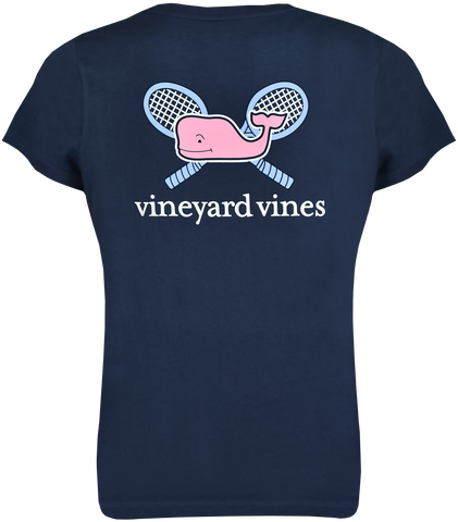 Womens Whale Crossed Racquets Tee - Navy