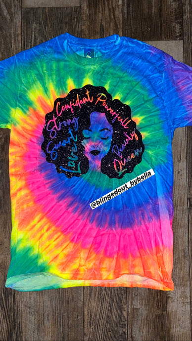 Black Afro Woman - Tie Dye T-Shirt