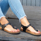 Sofiawears Summer Casual Thong Flat With Buckle Sandals