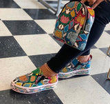Sofiawears Multi Colored Snake Skin Printed Sneakers