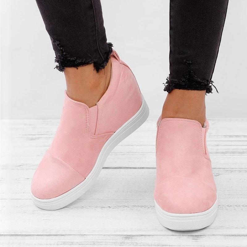 Sofiawears Wedge Classic Style Pure Color Casual Sneakers