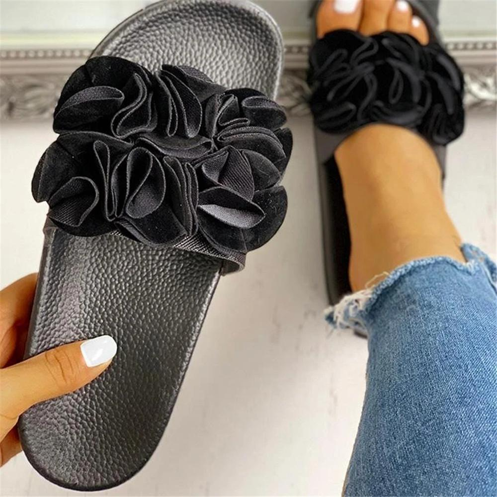 Sofiawears Causal Slip On Floral Sandals Flat Slides