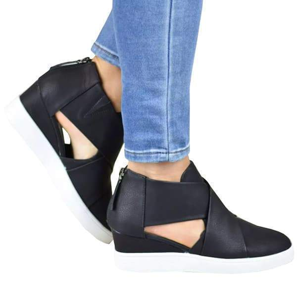 Sofiawears Criss-cross Cut-out Wedge Sneakers
