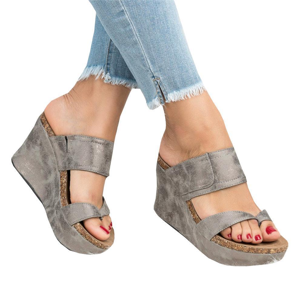 Sofiawears Fashion Slip-on Wedge Sandals