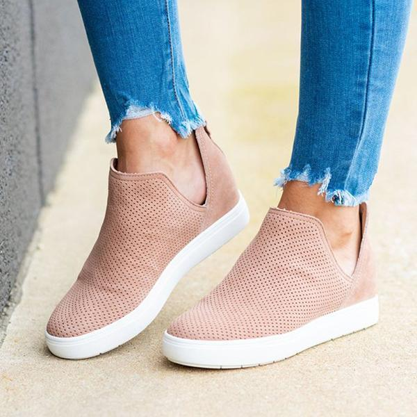Sofiawears Slip-On Round Toe Breathable Sneakers
