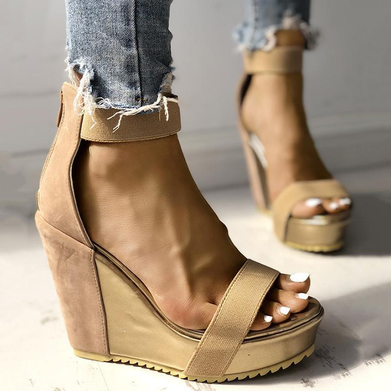Sofiawears Sexy Open Toe Back Zipper Wedges