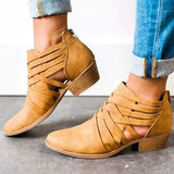 Sofiawears Criss-Cross Hollow Chunky Boots