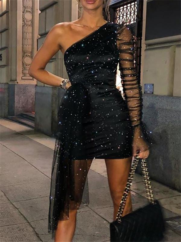 Sofiawears Glitter One Shoulder Sheer Mesh Ruched Party Dress