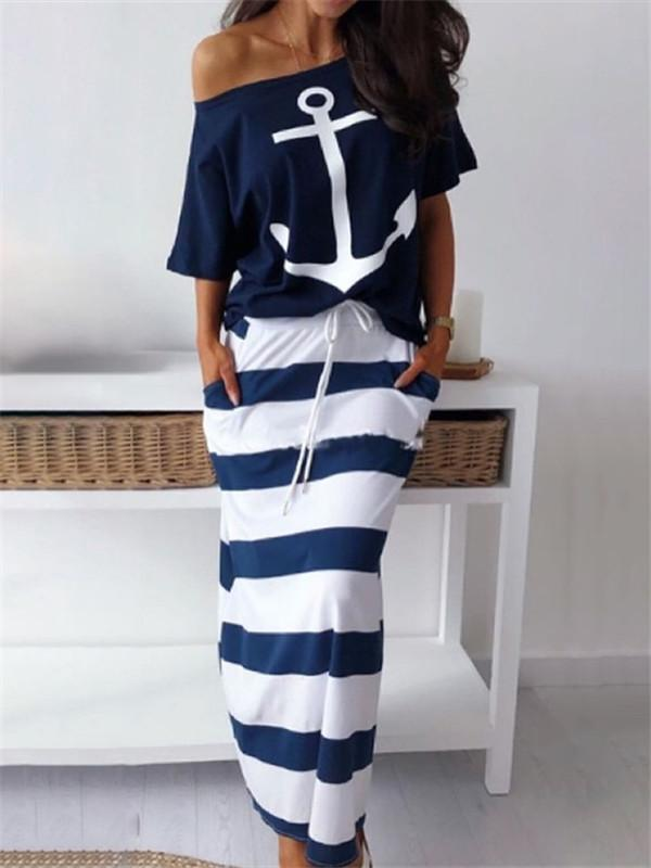 Sofiawears Boat Anchor Print T-Shirt & Striped Skirt Set