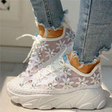 Sofiawears Wedding Mesh Diamante Trim Lace-Up Sneakers
