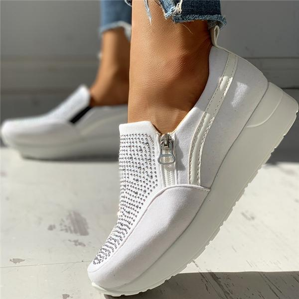Sofiawears Suede Beads Design Zipper Platform Casual Sneakers