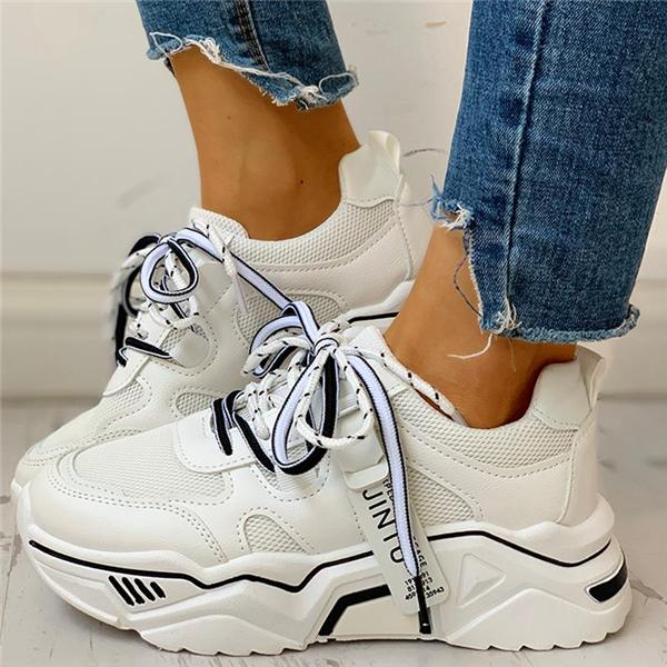 Sofiawears Platforms Lace-Up Breathable Casual Sneakers