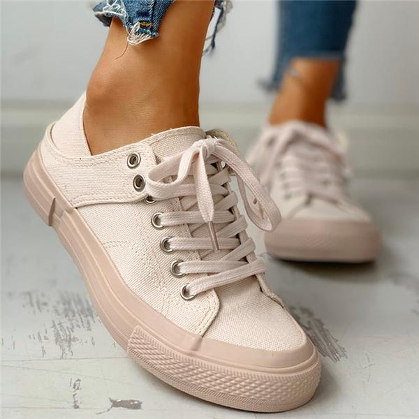 Sofiawears Solid Eyelet Lace-Up Casual Sneakers