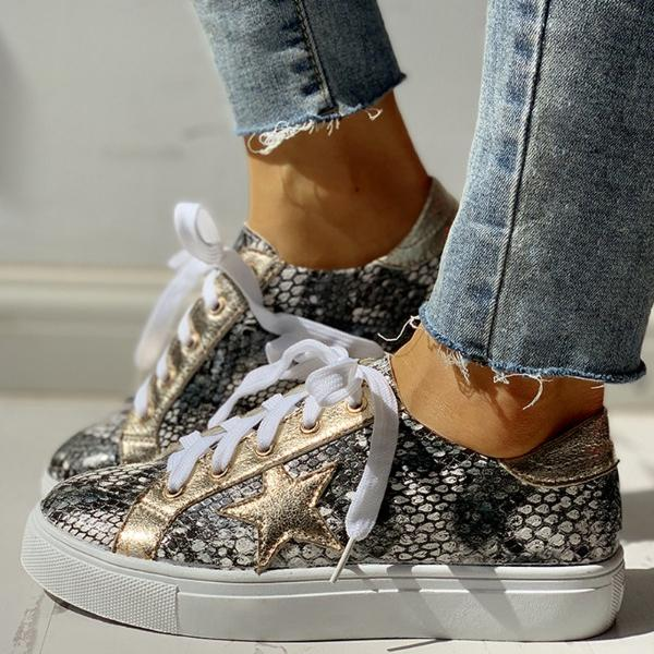 Sofiawears Glitter Lace-Up Star Pattern Casual Sneakers