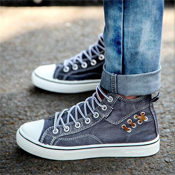 Sofiawears Unisex High Top Canvas Sneakers Denim Shoes