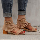 Sofiawears Pi Clue Apricot Block Heel Suede Summer Holiday Tassel Sandals